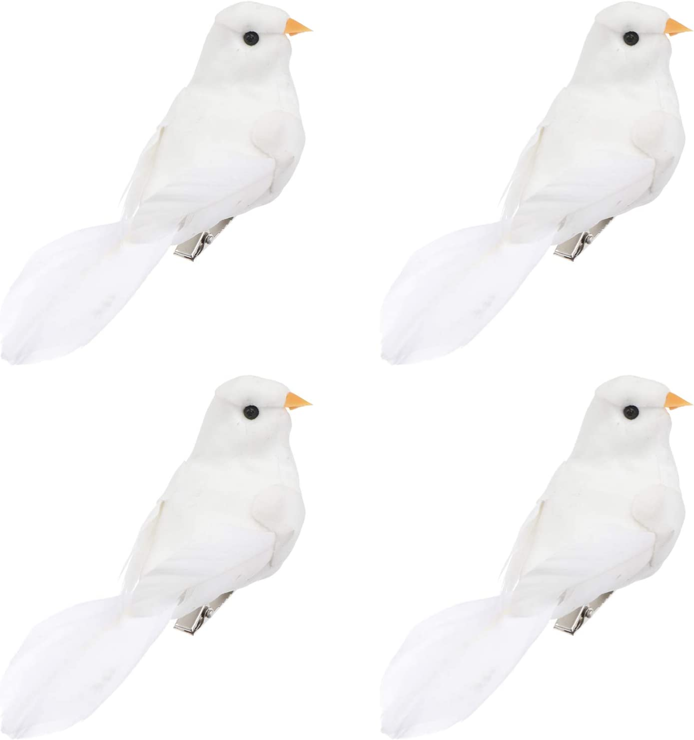 DOITOOL 4pcs Artificial Feathered White Birds Long Tail Artificial White Pigeon,Simulation Foam Craft Birds with Clips-on Tree Ornament Decorative Fake Doves for Home Garden Wedding Decor