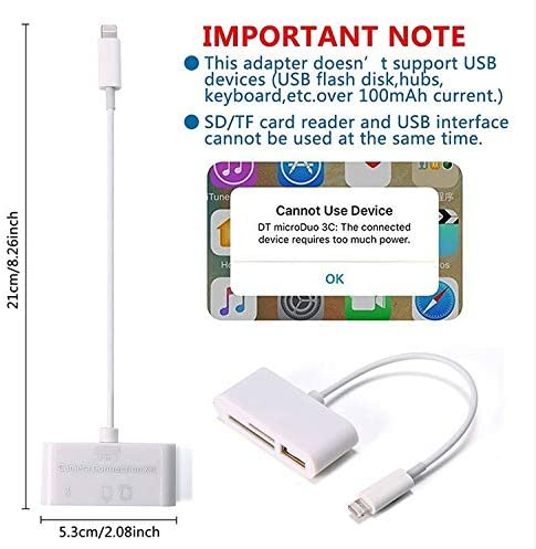 OUYAWEI 3 in 1 Card Reader for Tablet iPad 4 Mini iOS 11 Micro SD SD MMC TF Card Reader USB OTG Cable Adapter Camera Connection Kit
