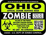"ProSticker 1245 (TWO pack) 3""x 4"" Zombie Series Ohio Hunting License Permit Decal Sticker"