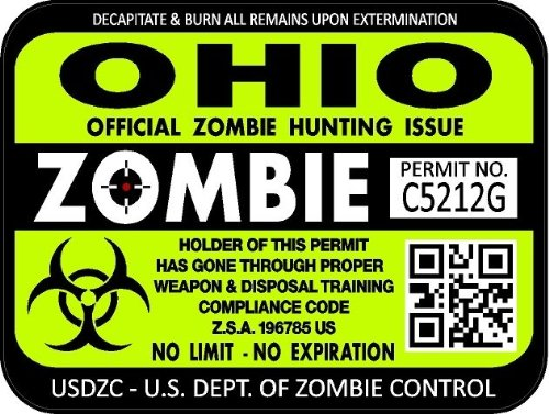 """ProSticker 1245 (TWO pack) 3""""x 4"""" Zombie Series Ohio Hunting License Permit Decal Sticker"""