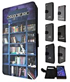 454 - Doctor Who Tardis Call Box Book Shelves Library Design Fashion Trend Credit Card Holder Purse Wallet Book Style Tpu Leather Flip Pouch Case Sony Xperia Z2