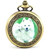Infinite U Akita Dog/Puppy/Goggie Roman Numerals Hollow Skeleton Mechanical Pocket Watch