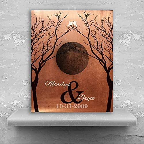 10 Year Wedding Anniversary Tin Gifts: Amazon.com: Bare Trees Moon Winter Wedding Faux Copper