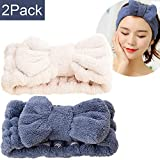 M-FIT Microfiber Bowtie Headbands, Extrame Soft & Ultra Absorbent, Comfort to Makeup Wash Spa Yoga Shower Facial Hair Band for Girls and Women (Blue+White)