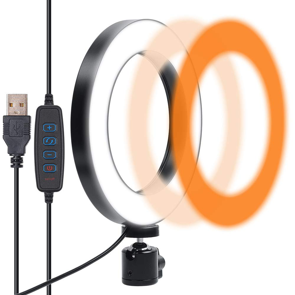 LED Ring Light,Gemwon Dimmable with Plastic 3 Lights Mode 360 Degree Rotating 8 Inches USB Beauty Rejuvenation Soft Light for Makeup,Live Streaming,YouTube Video Shooting,Photography Lighting