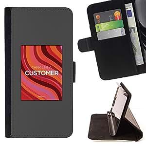 Momo Phone Case / Flip Funda de Cuero Case Cover - Affiche d'emploi Gris Rouge - Apple Iphone 6