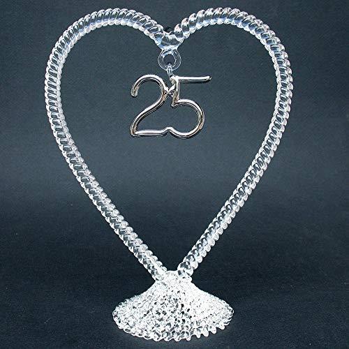 25th Anniversary Wedding Cake Topper of Hand Blown Glass ()