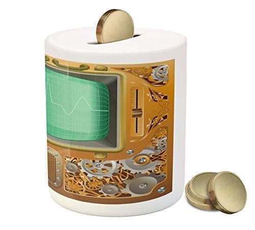 Ambesonne Retro Piggy Bank, Industrial Victorian Style Grunge Steampunk TV Gauger Retro Clockwork, Printed Ceramic Coin… 4