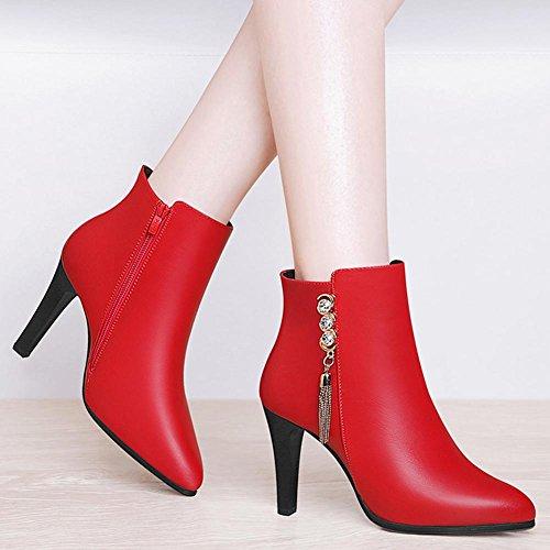 Schwarz Festivität Stiefel Kleid amp; Herbst Schuhe Stiefeletten Party AIURBAG Stiefeletten Damen Kunststoff Modische Booties Winter Stiefel Für wZxxpFaq8
