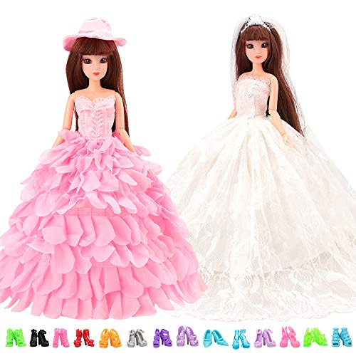 Mylass Lot 12 Items Include 10 Shoes + White Wedding Dress with Veil and Pink Princess Evening Party Clothes Dress with Hat for Barbie