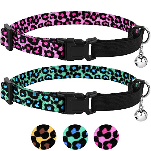 CollarDirect Breakaway Cat Collar Leopard Print Pack of 2 PCS, Safety Kitten Collar Cats Bell Elastic Strap, Adjustable Size 7-11 Inch (Pink-Green)