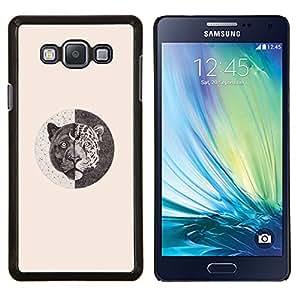 Caucho caso de Shell duro de la cubierta de accesorios de protección BY RAYDREAMMM - Samsung Galaxy A7 A7000 - tigre simbolismo lápiz bosquejo color beige