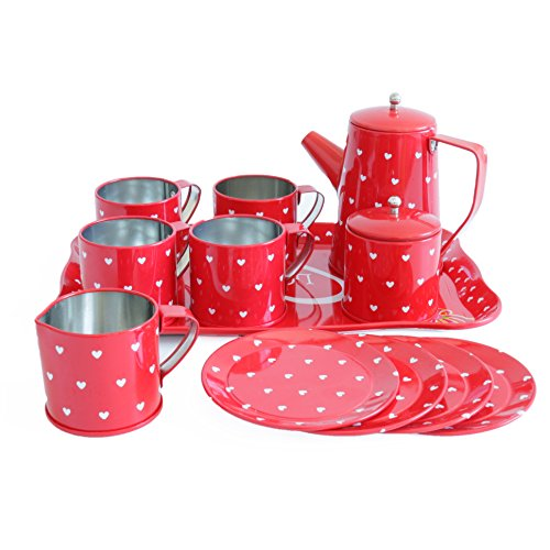 Bissport Tin Tea Set Toy-Tea Kitchen Playset for Kids Girls Boys Pretend Play(Red heart)