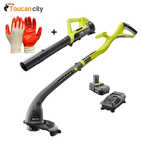 Toucan City Ryobi ONE+ 18-Volt Lithium-Ion String Trimmer/Edger and Blower Combo Kit 2.0 Ah Battery and Charger Included P2036 and Nitrile Dip Gloves(5-Pack) by Toucan City