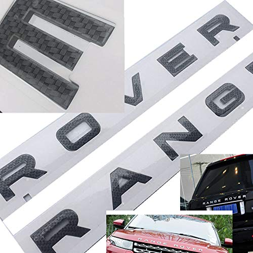 Applique Carbon Fiber - 1Set New 3D Head Cover Hood Front Letters Emblem Sports Line Badge Letter Emblem for Range Rover Land Rover car Stickers Decal Logo(Carbon Fiber Style)