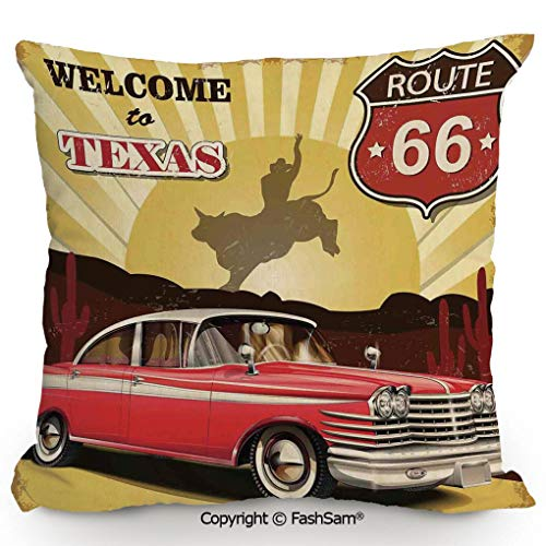 FashSam Home Super Soft Throw Pillow Welcome to Texas Signboard Poster with Cadillac Art Car Cowboys Town Rodeo Decor for Sofa Couch or Bed(24