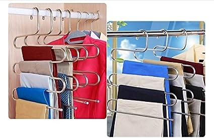 ZriEy Pantalons Cintres,Multi-usages Cintre en Acier Inoxydable de 5 /étages Conception Antid/érapante pour /écharpes Jeans V/êtements Pantalons Serviettes 2 Pack