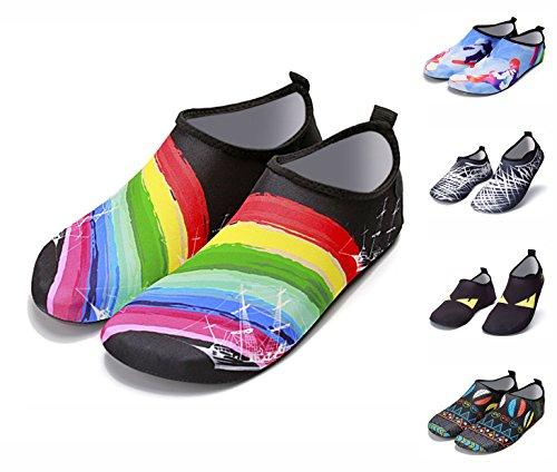 Chaussures De Sport Nautique Pieds Nus Léger À Séchage Rapide Aqua Chaussettes Slip-on Pour La Plage Nager Surf Yoga Exercice Durable Semelle Hommes Femmes 5-arc-en-voile