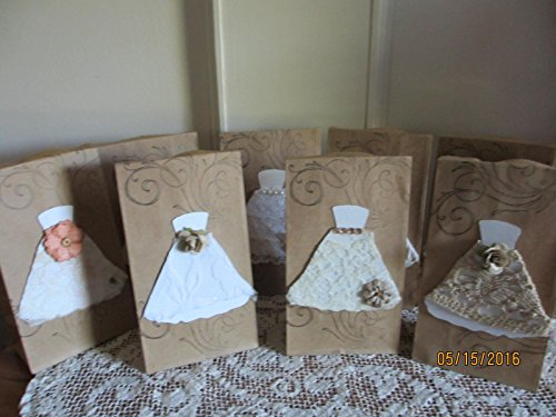 New 8 Assorted Rustic Bridal Shower Favor Bags, Brown Bag Country Chic Favors,Chic Shower Favors, 3.5x2x6.75 Size Wedding Gift Favor Bags