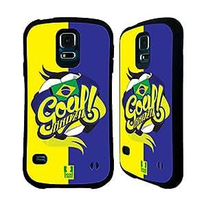 Head Case Designs Brazil Football Countries Hybrid Gel Back Case for Samsung Galaxy S5