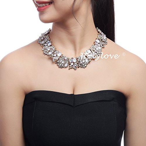 Holylove Chunky Crystal Necklace for Women Fashion Necklace Bracelet White 1 Set Retro Style Gift Box-8041SW3PCS by Holylove (Image #1)