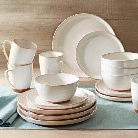 Better Homes and Gardens Claybrooke 16 Piece Dinnerware Set, Cream