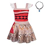 Lito Angels Girls Dresses Moana Costume Adventure Outfit Halloween Fancy Party Dress with Necklace Size 2T / 3T
