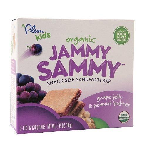 Ingredients Grape Jelly - Plum Kids Organic Jammy Sammy Snack Size Sandwich Bar, Grape Jelly & Peanut Butter 5.15 Oz (145 G) Pack of 2