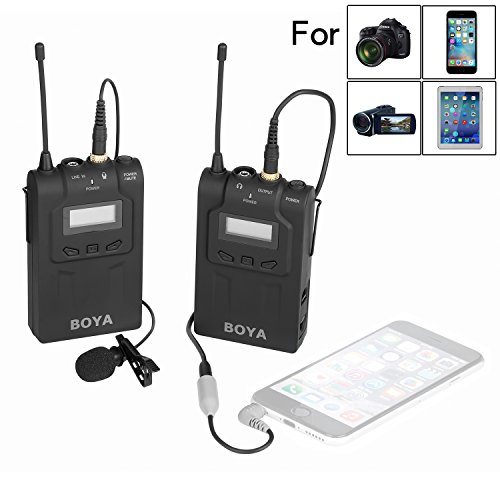 BOYA BY-UM48C UHF Omni-Directional Wireless Lavalier Microphone System for Canon EOS T6i C200 Nikon D3300 Sony A9 Camera iPhone 8 8 plus 7 7 plus 6 6s Smartphone by BOYA