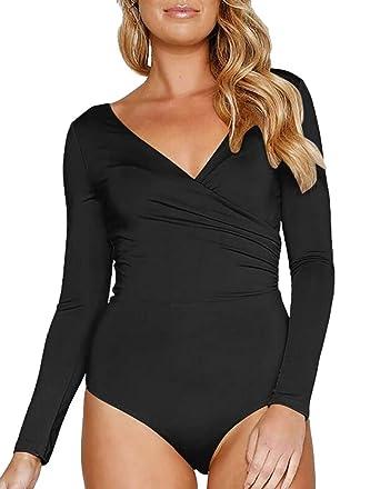 6465693c972 Generic Women s Long Sleeve Tops Bodysuit V-Neck Leotard Cheeky Jumpsuits Rompers  Black XS