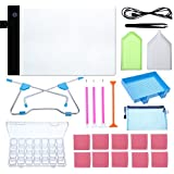 Blulu A4 LED Light Pad Light Board Stand Holder and 20 Pieces Diamond Painting Tools with 28 Slots Box for Diamond Painting Sketching Drawing