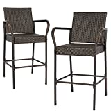 Best Choice Products Set of 2 Weather-Resistant Indoor Outdoor Wicker Barstool Furniture Bar Stools, Brown