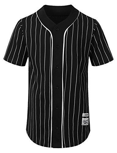 URBANCREWS Mens Hipster Hip Hop Striped Baseball Jersey Shirt Black, L