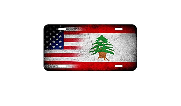 Lebanon Flag License Plate Tag Vanity Front Aluminum 6 Inches By 12 Inches