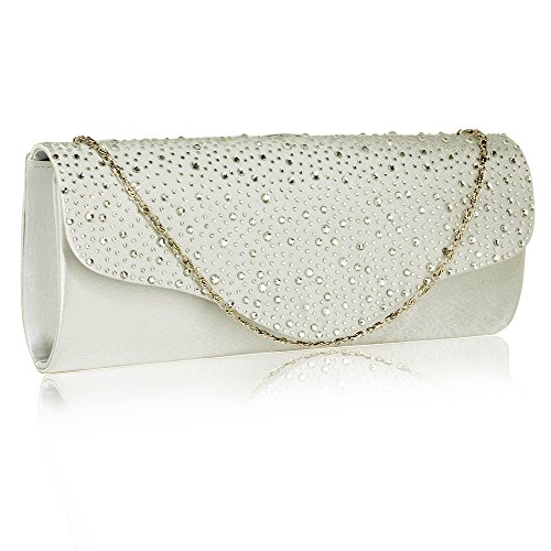 Design Diamante Handbag Ladies Purse Over Ivory Clutch 1 Flap Women Closure Beaded Sparkly Bag Evening 7qT7wrY