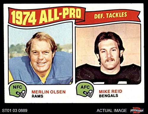 - 1975 Topps # 215 All-Pro Defensive Tackles Merlin Olsen/Mike Reid Rams/Bengals (Football Card) Dean's Cards 5 - EX Rams/Bengals