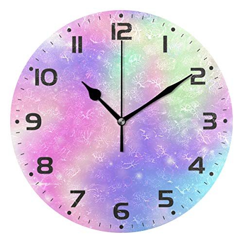 Naanle Fairy Rainbow Mesh Multicolor Universe Princess Colors Round/Square/Diamond Acrylic Wall Clock Oil Painting Home Office School Decorative Creative Dual Use Clock -