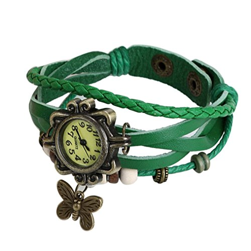 Mini Bracelet Watch (Watch,XUANOU Woman Wrist Watch Quartz Fashion Weave Around Leather Bracelet Mini Watch (Green))