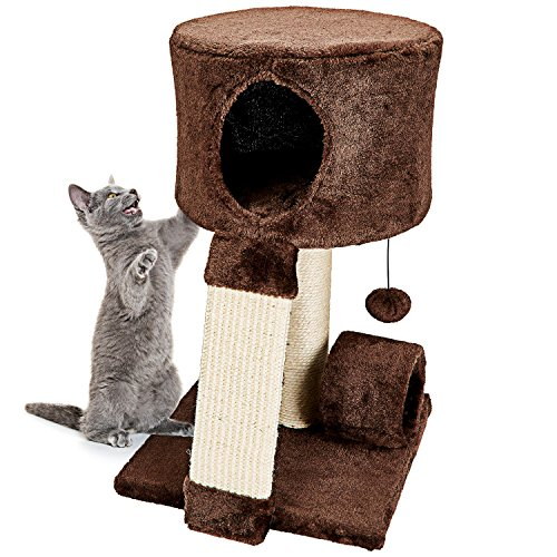 Animals Favorite Cat Condo Perch, Cat Tree with Scratch Post and Cat House, Ideal for Small Cats and Kittens