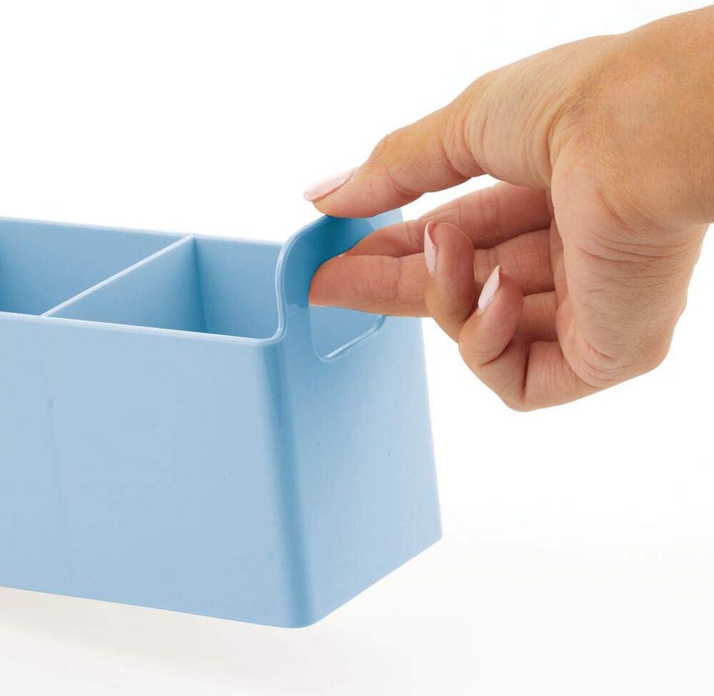 azul claro Caja para medicamentos peque/ña de pl/ástico sin BPA cosm/éticos y vendajes mDesign Juego de 2 organizadores de maquillaje con asas Cesta de ba/ño con 3 compartimentos para maquillaje