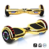 Cheap 6.5″ inch Chrome Hoverboard Electric Smart Self Balancing Scooter With Built-In Bluetooth Speaker LED Wheels and LED Side Lights- UL2272 Certified (Gold)
