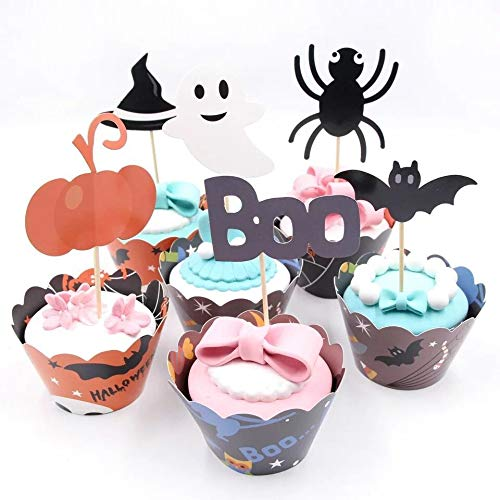 Astra Gourmet 24 Sets Halloween Cupcake Wrappers with Toppers, Halloween Cupcake Kit Halloween Party Supplies