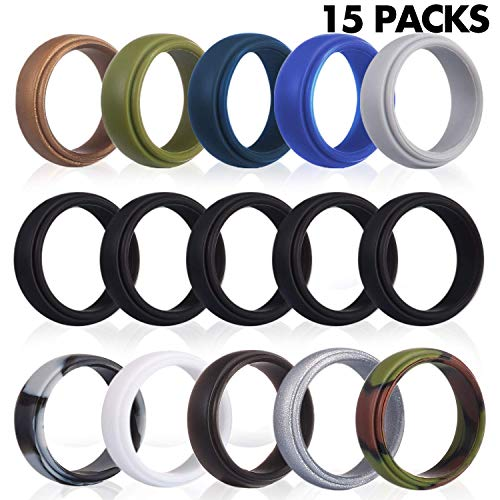 Rngeo Silicone Wedding Ring for Men, 15 Pack Rubber Bands for Men, for Workout, Exercise & Gym (15 Pack, 11 Colors)