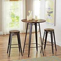 3 Piece Pub Set, Table and Two Stools, Sturdy Metal Construction with Wood Top, Dining Set, Kitchen, Bar, Furniture, Comfortable Seating for 2, Multiple Finishes, BONUS E-book (Bronze)