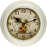 Adeco White Iron Watering Can and Sunflower Design Round Wall Hanging Clock Home Decor