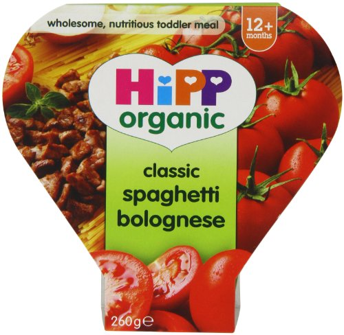 HiPP Organic Stages 3 and 4 12+ Months Growing up Meal Classic Spaghetti Bolognese 4 x 260 g (Pack of 2, Total 8 Pots) (Hipp Baby Food Stage 3)