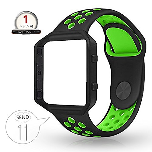 YOUKEX for Fitbit Blaze Bands Silicone with Frame,Small Breathable Sport Replacement Strap with Black Metal Case for Smart Fitness Watch Women Men (Black/Green,Small Size) (Black Wrist Green Watch)