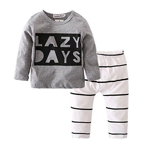 Baby Boys Girls Long Sleeve Lazy Days Printed T Shirt Stripe Pants Outfits Set  6 9 Months