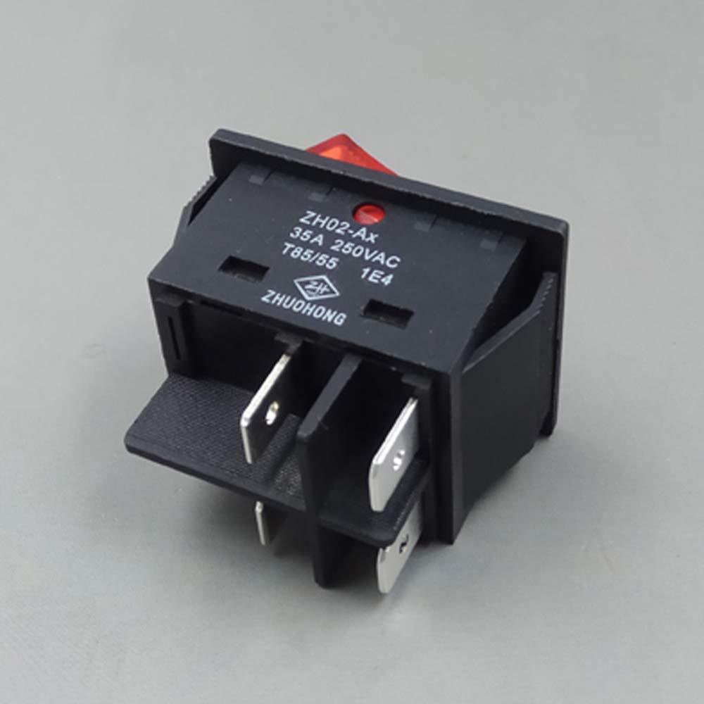 ZH02-Ax 16A ZH02-Ax AC 250V 16//20//25//30//35//40A 4 pines Interruptor basculante con l/ámpara ON-OFF Interruptores de bot/ón pulsador para soldadoras CE TUV CQC 5-Pack