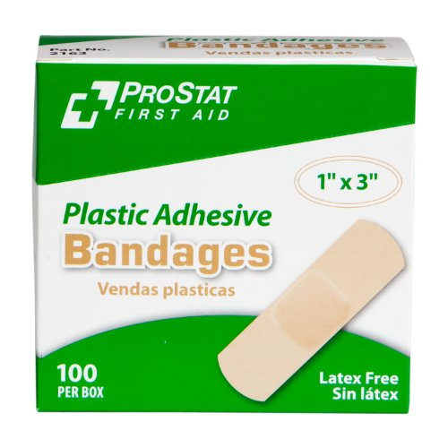 (ProStat First Aid 2163 Plastic Bandage Strip, 3
